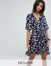 Milk It , Vintage Wrap Front Mini Dress  Floral