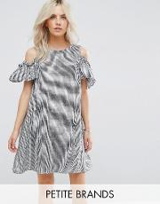New Look Petite , Gingham Cold Shoulder Dress