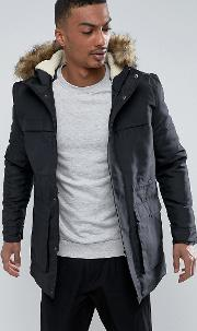 Only & Sons , Parka With Faux Fur Hood