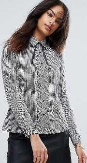 Qed London , Gingham Frill Tie Shirt