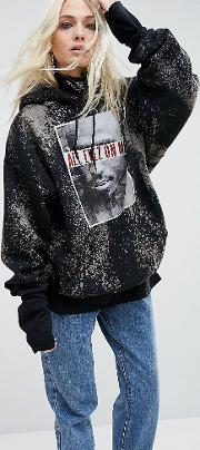 Reclaimed Vintage , Inspired Band Pull Over Hoodie With Tupac Print