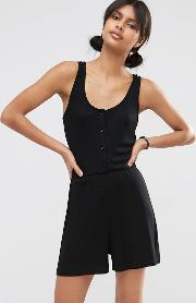Asos , Ribbed Button Through Lounge Playsuit
