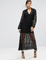 Stevie May , Crochet Embellished Long Sleeve Maxi Dress