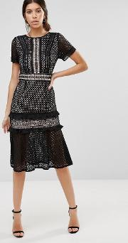 True Decadence , Lace Midi Dress With Frill Detail