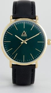 Asos , Watch With Leather Strap And Dark Green Face