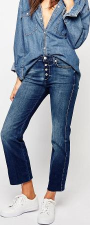 7 For All Mankind , Cropped Bootcut Jeans With Raw Hem