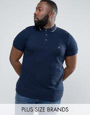 French Connection , Plus Polo Shirt With Twin Tip Collar
