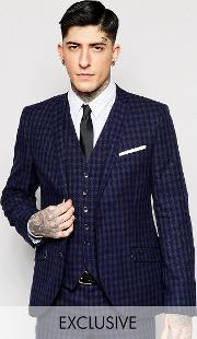 Heart & Dagger , Tonal Check Suit Jacket In Super Skinny Fit