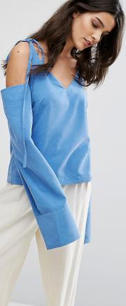 House Of Sunny , Cold Shoulder Top With Tie Details