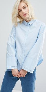 I Love Friday , Boxy Shirt With Oversized Cuff Sleeve
