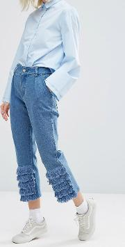 I Love Friday , Mom Jeans With Frill Trim