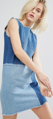 I Love Friday , Shift Dress In Patchwork Denim