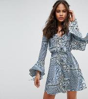 Influence Tall , Cold Shoulder Extreme Sleeve Dress