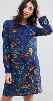 Lavand , Printed Shift Dress With Tie Neck