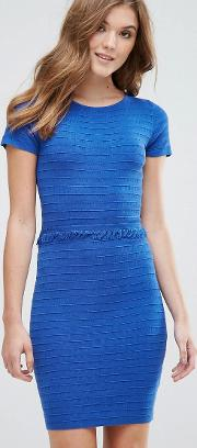 Lavand , Ribbed Jumper Dress With Frill Detail