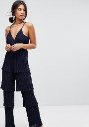 Missguided , Pleated Ruffle Tiered Jumpsuit