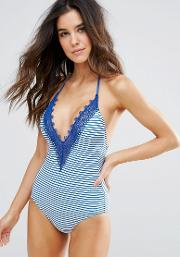 Seafolly , Riviera Lace Deep  Maillot Swimsuit