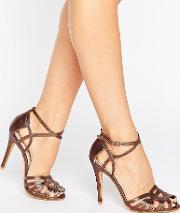 True Decadence , Bronze Strap Heeled Sandals