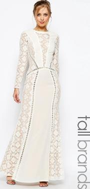 Jarlo Tall , Long Sleeved  Neck Maxi Dress With Lace Panels