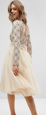 Lace And Beads , Lace & Beads Tulle Skirt With Gathered Waist Detail