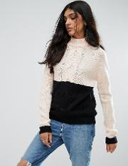 Noisy May Tall , Contrast Cable Knit Jumper