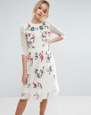 Asos , Premium Midi Skater Dress With Floral Embroidery
