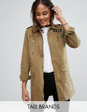 Brave Soul Tall , Military Jacket With Patches