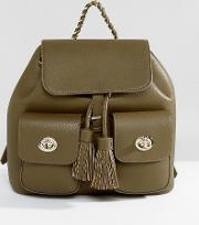 Marc B , Double Pocket Backpack With Tassel Detail