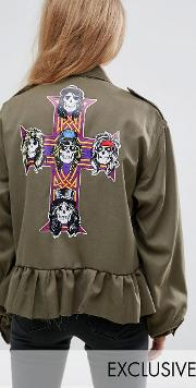 Milk It , Vintage Military Band Jacket With Guns  Roses Back Print
