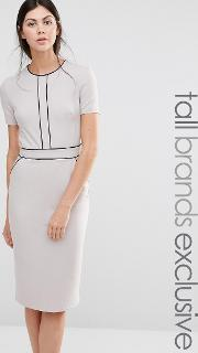 Alter Tall , Short Sleeve Pencil Dress With Piping Detail