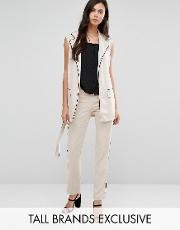 Alter Tall , Slim Cigarette Pyjama Trouser With Contrast Piping