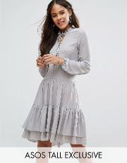 Glamorous Tall , Button Front Smock Dress With Tassel Trim