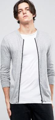 Asos , Knitted Cotton Bomber In Muscle Fit