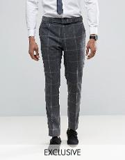 Noak , Slim Suit Trousers In Check