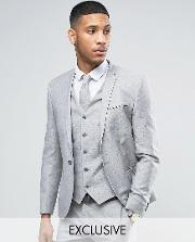 Noak , Wedding Skinny Suit Jacket  Linen Nepp