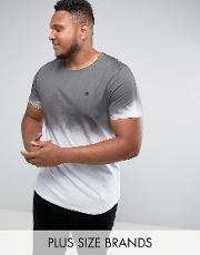 Noose & Monkey , Plus Longline Muscle Fit  Shirt With Sprayed Ombre
