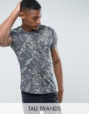 Noose & Monkey , Tall Relaxed Shoulder  Shirt In Floral Print