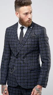 Noose & Monkey , Woven In England 100 Wool Overcheck Db Suit Jacket With Chain  Skinny Fit