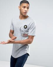 Only & Sons , Longline T Shirt With Badge Detailing And Curved Hem
