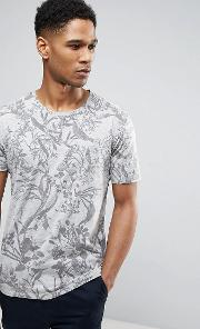 Only & Sons , T Shirt With All Over Bird Print
