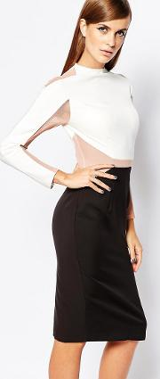 8th Sign , The Panelled Bodycon Dress With Mesh Inserts