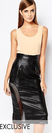 8th Sign , The Pu Top Bodycon Dress With Mesh Insert Skirt