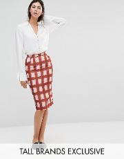 Alter Tall , Midi Pencil Skirt In Checked Print
