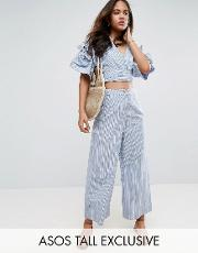 Asos Tall , Exclusive Shirting Wide Leg Trouser  Stripe Co Ord