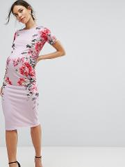 Bluebelle Maternity , Short Sleeve Bodycon Dress In Floral Print