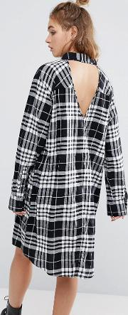 Cheap Monday , Flannel Check Shirt Dress With Open Back Detail