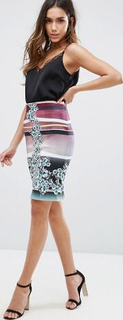 Clover Canyon , Seaside Horizone Noeprene Pencil Skirt