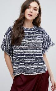 Dra , D.ra Brooke Stripe Top With Unfinished Hem