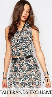 Glamorous Tall , Wrap Front Crop Top In Floral Print