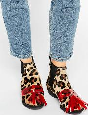 House Of Holland , Leopard Print Tassel Chelsea Boots